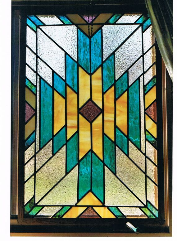 Stained Glass panel with Oak frame Southwest by CreativeJuce