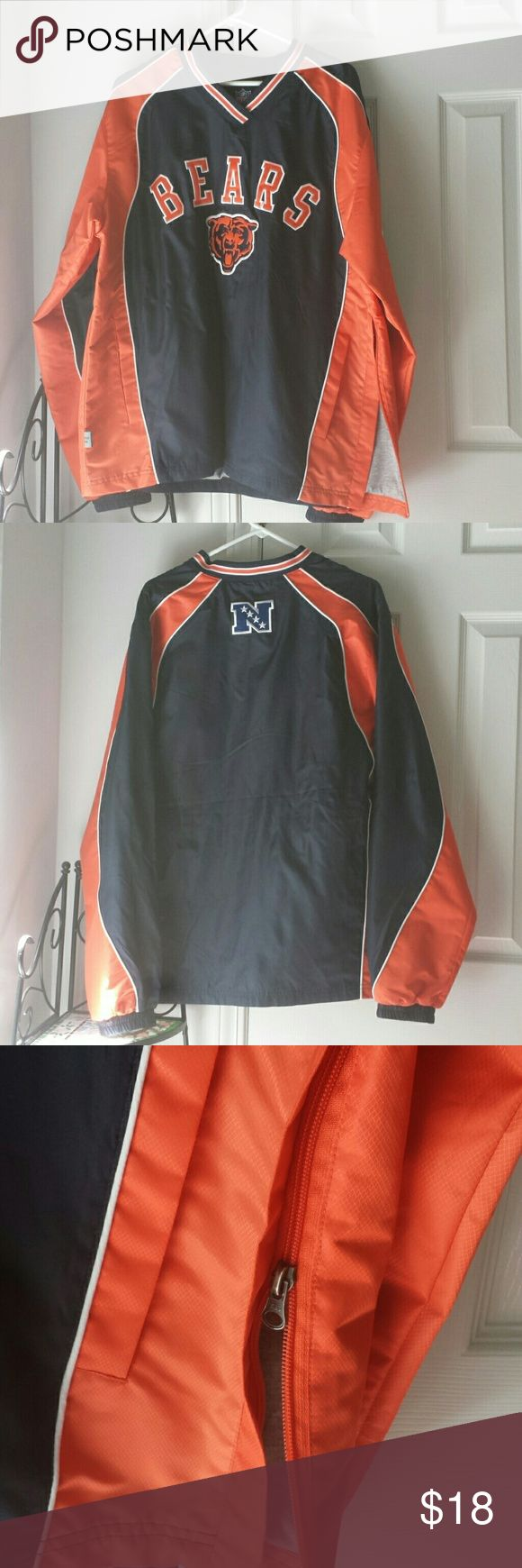 Chicago Bears Pullover Windbreaker Gently worn  Brand:NFL Size:Medium Blue and Orange pullover with gray lining and side zipper Jackets & Coats Windbreakers