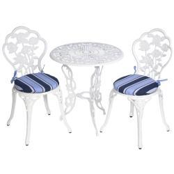 Bistro Outdoor Blue Stripe Round Chair Cushions (Set of 2)