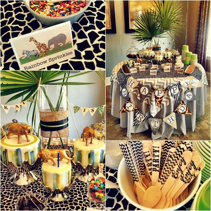 """""""Happy Birthday"""" sign with animal print backgrounds"""