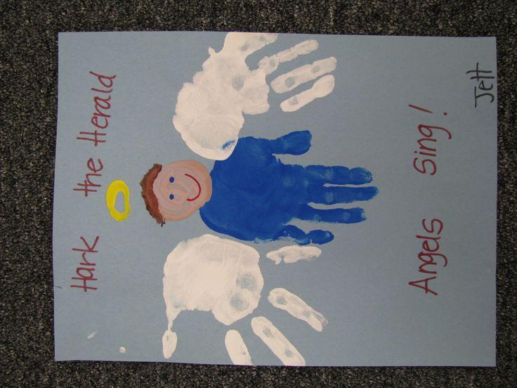 Image detail for -hand print christmas angels preschool craft