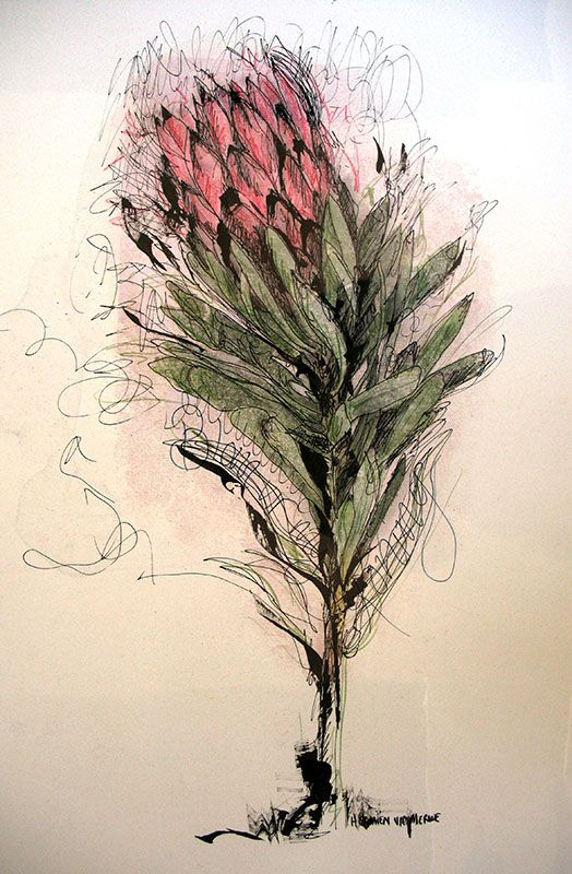 Hermien Van Der Merwe;  Title: Blom vir my Koning (Flower for my King) Medium: Mixed media on paper: Printing ink and thinners/chalk pastel/Pen and Ink Size: 595mm x 420mm
