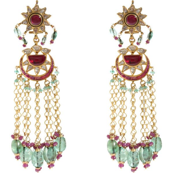 Munnu Diamond, Ruby, Emerald  Pearl Drop Earrings
