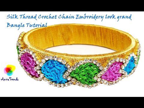 Unique Silk Thread Bangle Crochet Chain Stitch Pattern Leaf Design | Raw Silk Bangle Inspired Design - YouTube