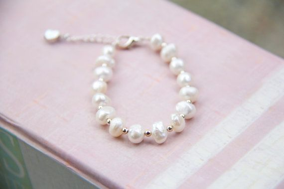 Baby  GIrl Bracelet  Fresh Water Pearls  by LittleJoyCreations