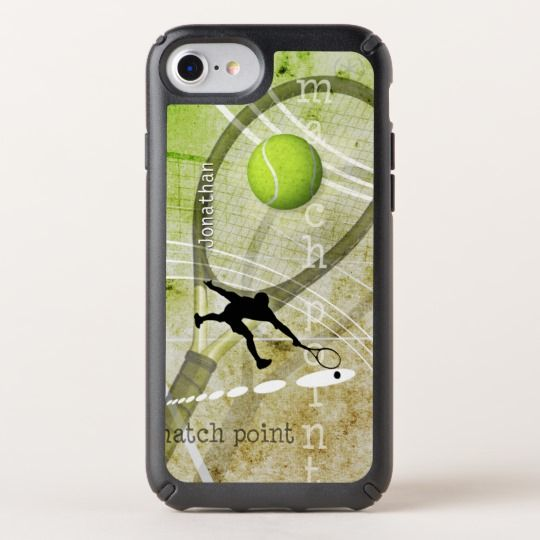 Match Point men's tennis iPhone case with custom name from katzdzynes on Zazzle