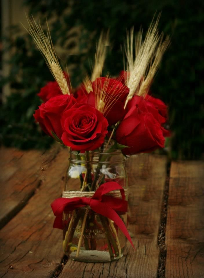 Best 25 red wedding centerpieces ideas on pinterest diy wedding wedding centerpieces red roses mason jars and wheat country wedding junglespirit Gallery