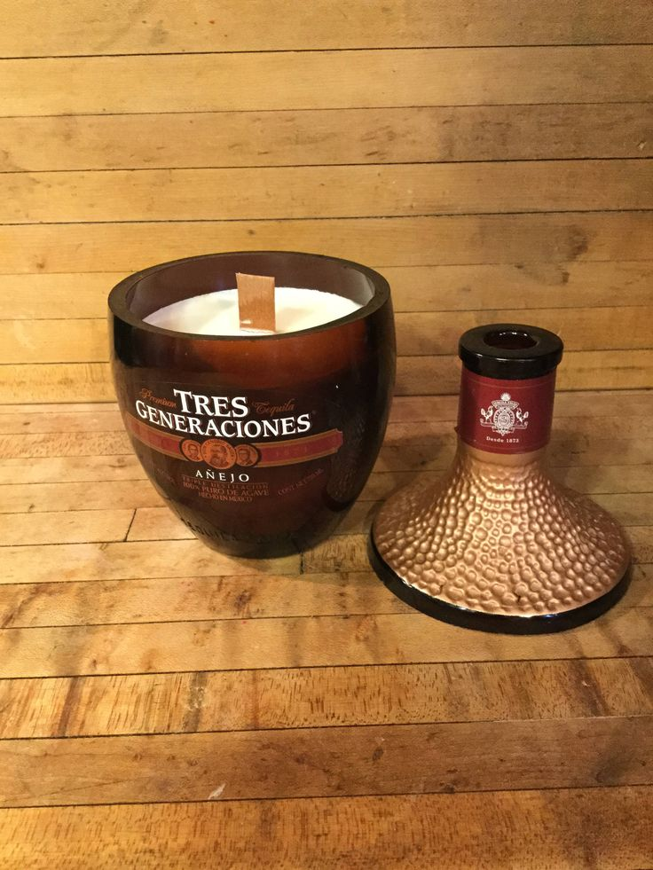 Hand crafted 750 ML Tres Generaciones Tequila Scented Candle. Made With or Without Pedestal Base. Upcycled. Made in America. Veteran Owned. by BornAgainPhoenix on Etsy