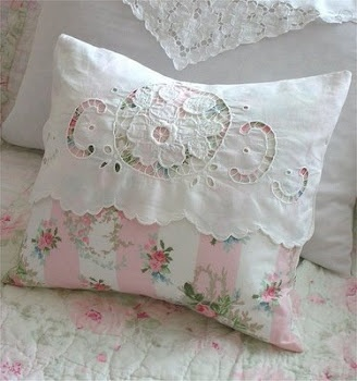 rachel ashwell pillow...Oh I have a cutwork piece in rough shape that would be perfect for this.