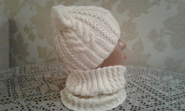Шапка спицами. КотоШапка. Часть 1.   // Knitting for kids // How to knit...