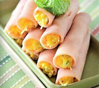 Самые вкусные рецепты: Рулеты из ветчины с сырной начинкой