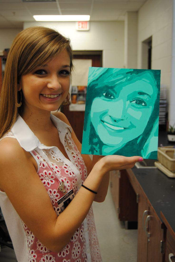 student monochromatic self portraits Smiths Station HIgh School,  Smiths Alabama