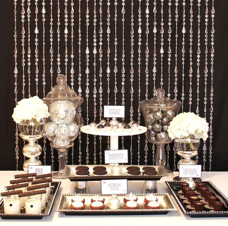 Decor - Disco balls, silver balls, gems, anything SPARKLY: Holidays Parties, Years Eve, Sweet Tables, Black White, Beads Curtains, Desserts Bar, Parties Ideas, New Years, Desserts Tables