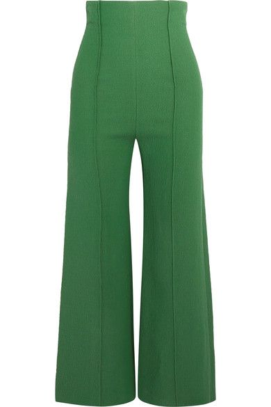 Emilia Wickstead - Hullinie Cloqué Wide-leg Pants - Dark green - UK12