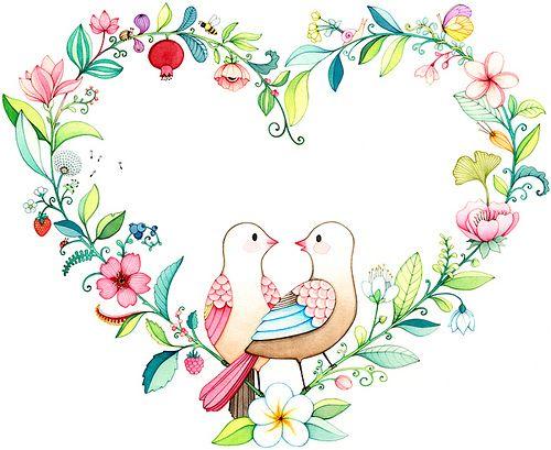 Flower heart, illustration