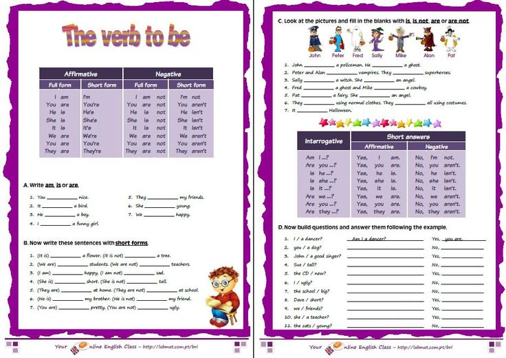 verb to be exercises for beginners