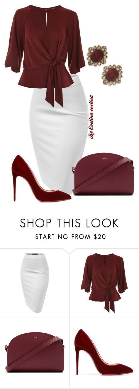 """""""EVE"""" by evelina-er ❤ liked on Polyvore featuring Topshop, A.P.C., Christian Louboutin and Marchesa"""