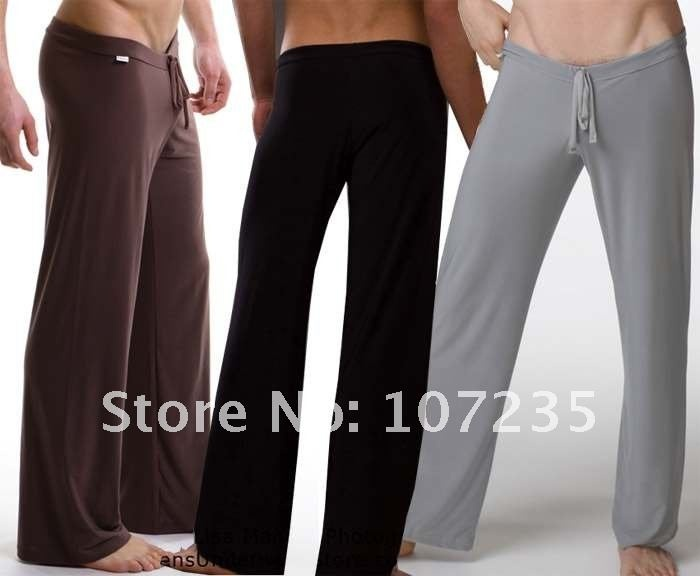 Free shipping Silk men's home furnishing male Yoga Pants Pajama Pants PAJAMAS home furnishing wear loose lacing leisure pants