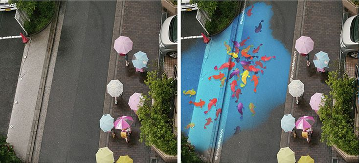 Arte di strada... ma solo quando piove! | Arte  The international collective of artists and creative D & AD has involved the Pantone Color Institute and the School of the Art Institute of Chicago (SAIC) to imagine a beautiful project of street art, the Project Monsoon . The idea is to paint the Seoul pedestrian streets with special coatings that remain transparent when dry and become colored when they come in contact with the water and then becoming visible in the rain.