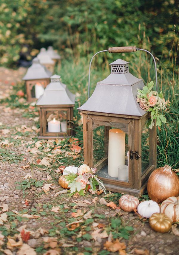 Lanterns Line the Path | Megan Robinson Photography and Leslie Dawn Events | Blush and Rose Gold Woodland Wedding Shoot