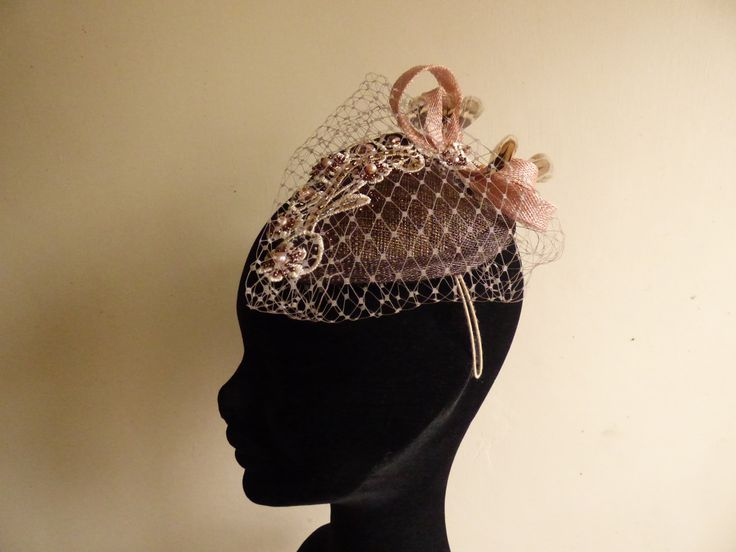 Chocolate brown fascinator. Teardrop fascinator with dusky pink sinamay loops and pheasent feathers. Embroidered lace and beige netting. Mother of the bride hat by N.Joy.Millinery.