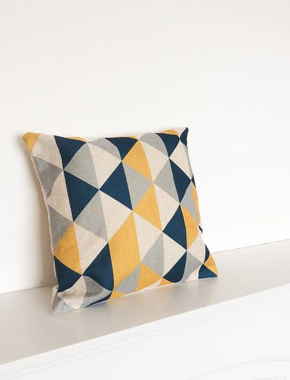Mustard/charcoal Black/Grey Geometric Scandinavian by simplyskandi