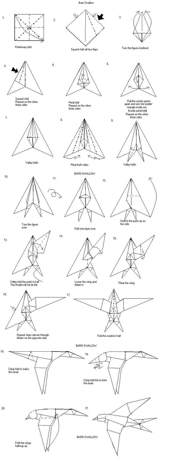 26 Best Papier Images On Pinterest Origami Paper Crafts And 3d Swan Diagram Http Howtoorigamicom Origamiswanhtml Barn Swallow
