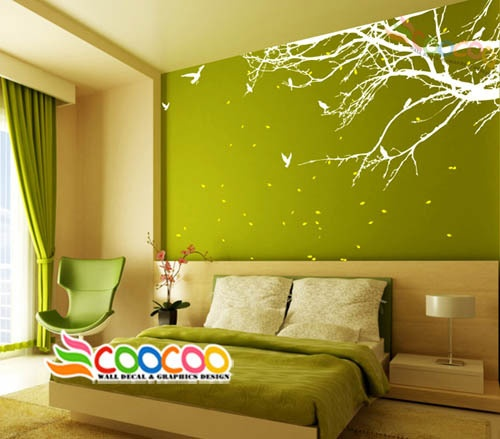 """Wall Decal Sticker Mural Removable Small Size Coner Top Branch 60""""w 2 Colors 