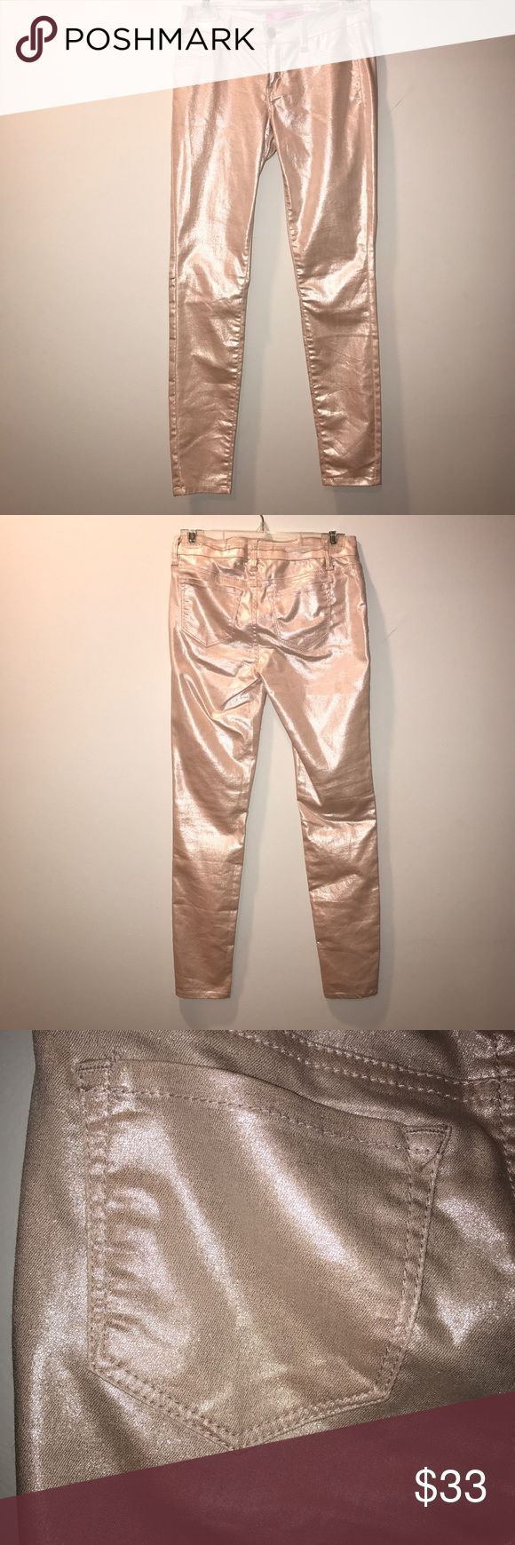 Shiny Light Pink Tight Skinny Low-cut Pants These are very pretty light pink pants that look shiny/sparkly.  They are tight skinny and low cut at the waist. Pants Skinny