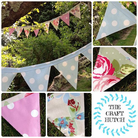 Outdoor bunting Garden bunting oilcloth bunting by TheCraftHutch