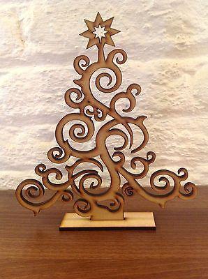 Set Of 2 Laser Cut Christmas Tree Decoration Gift Xmas Plain Wood Craft Shape in Home, Furniture & DIY, Celebrations & Occasions, Christmas Decorations & Trees | eBay