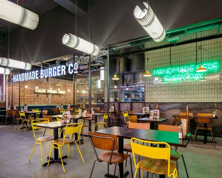 A new low cost fit out of a new restaurant in an existing shopping centre in Eldon Square Newcastle developing further ideas on the use of reclaimed materials & industrial themes specific to the brand ethos mixed with ideas on its location.