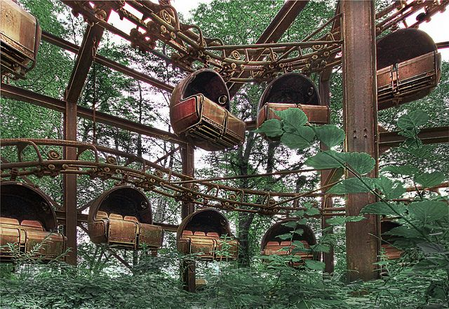 Spreepark is an abandoned amusement park in Germany