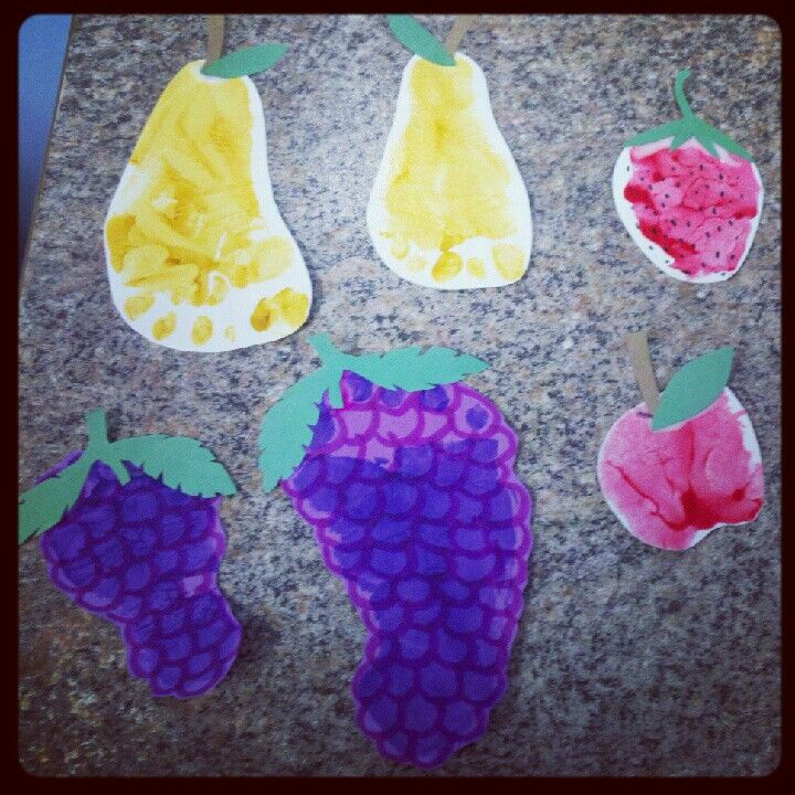 Some handprint and footprint food made for a picnic theme