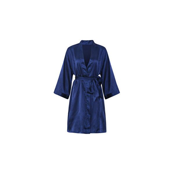 Comfortable Long Sleeved Smooth Silk Loungewear Night-robe ($13) ❤ liked on Polyvore featuring intimates, robes, navy blue, navy silk robe, silk bath robes, bath robes, dressing gown and silk bathrobe