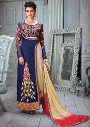 Party Wear Neavy Blue Satin Silk Embroidered Work Straight Suit