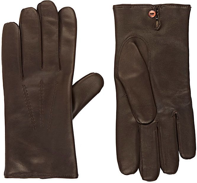 Barneys New York Men's Leather Gloves-BROWN