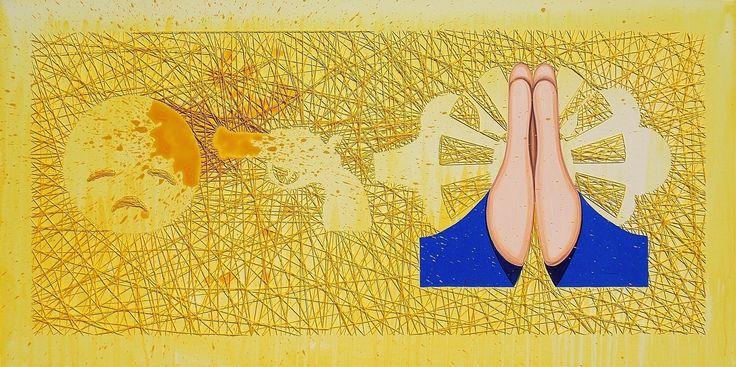"""andrea mattiello """"Pensiero nero in un giorno di luce"""" acrilico e ricamo su tela cm 100x50; 2015 #andreamattiello #artistaemergente #emergingartist #artecontemporanea #contemporaryart"""