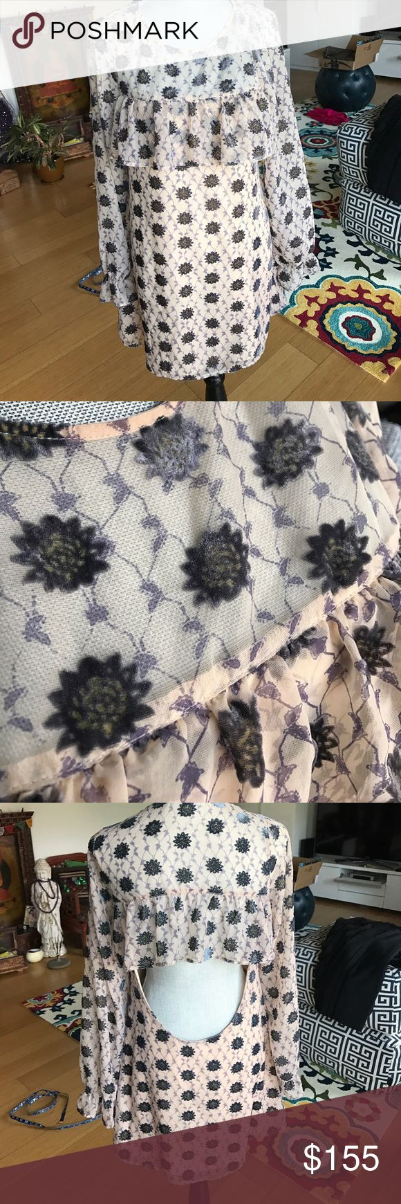 For Love and Lemons Open Back Sheer Lotus Dress Fully lined in all the necessary places. Like new condition (except small hole at shoulder - see pic - priced accordingly). Gorgeous. For Love and Lemons Dresses