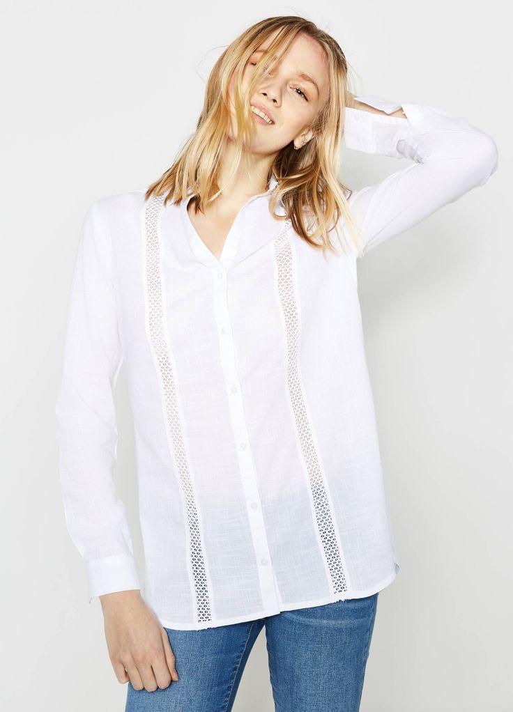 Camicia in cotone lavorazione traforata