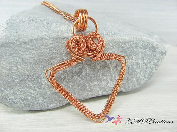Copper Wire Wrapped Triangle Necklace Copper Triangle Pendant