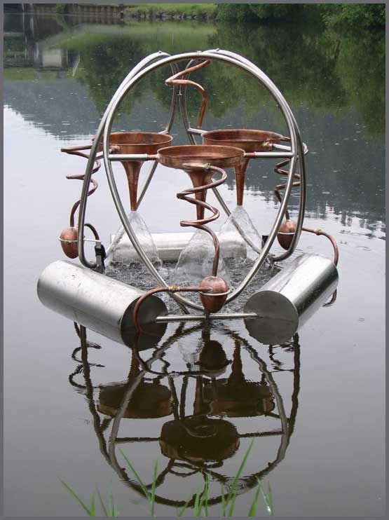 Belebula water recitalizing and cleaning tool for lakes and ponds - idea and construction by felix hedinger based on the knowledge of viktor schauberger
