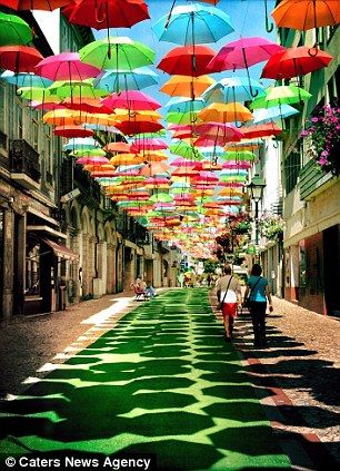 Umbrella Installation, Agueda, Portugal. | An initiative by the council, in the small town just south of Porto, and is part of an art festival call Agitagueda.