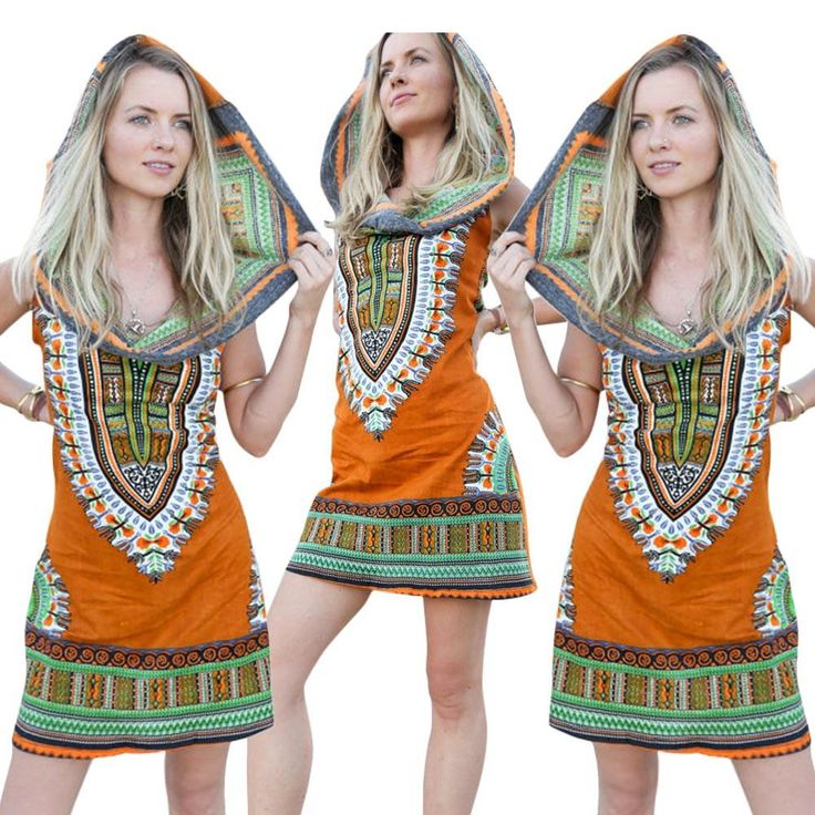 Dashiki Print Sleeveless Yellow Hooded Mini Dress