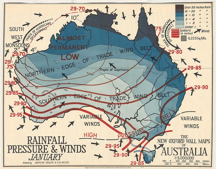 Historical rainfall, pressure and winds map of Australia
