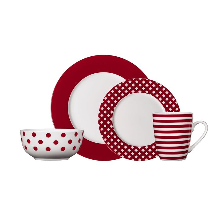 Pfaltzgraff Kenna Red Dinnerware Set (16-piece)   Overstock.com Shopping - The Best Deals on Casual Dinnerware