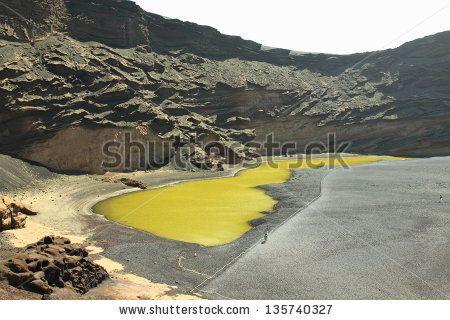 El Golfo in Lanzarote, Spain - the green lagoon - lago verde