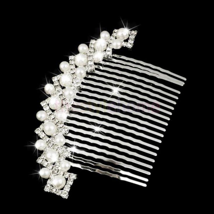 Bridal Wedding Pearls Hair Comb Clip Slide Tiara Diamante Crystal Rhinestone