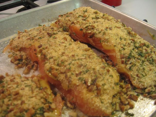 ... Recipes and Weight Loss Blog: Baked Salmon with Pecan Crunch Coating