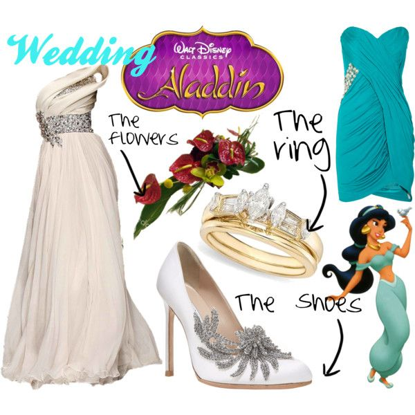 Aladdin themed wedding! i just like the wedding dress and shoes